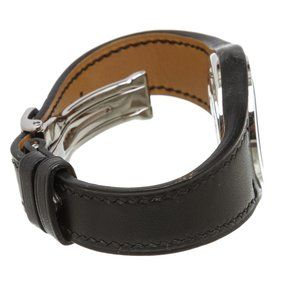 Hermes Accessories - Hermes Stainless Steel Black Leather Harnais Watch